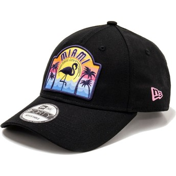 Casquette courbée noire ajustable 9FORTY USA Patch Miami New Era