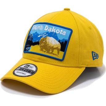 New Era Curved Brim 9FORTY USA Patch North Dakota Yellow Adjustable Cap