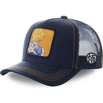 Casquette trucker bleue marine Son Goku Super Saiyan SAY3 Dragon Ball Capslab