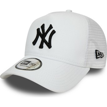 New Era Black Logo Essential A Frame New York Yankees MLB White Trucker Hat