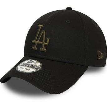 New Era Curved Brim Green Logo 9FORTY Essential Los Angeles Dodgers MLB Black Adjustable Cap