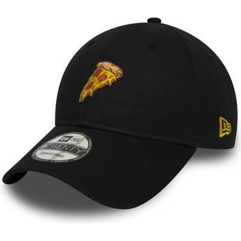 New Era Curved Brim 9TWENTY Pizza Black Adjustable Cap