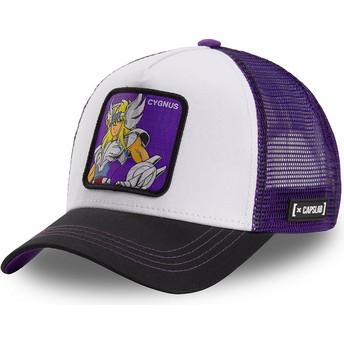 Capslab Cygnus Hyoga CYG1 Saint Seiya: Knights of the Zodiac White, Purple and Black Trucker Hat