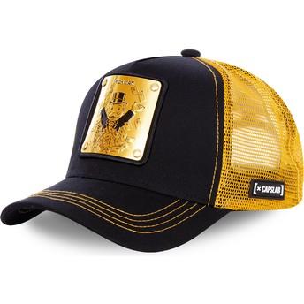 Capslab Rich Uncle Pennybags BIF Monopoly Black and Golden Trucker Hat