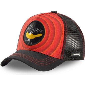 Capslab Daffy Duck Bullseye Color Rings LOO DAF1 Looney Tunes Red and Black Trucker Hat