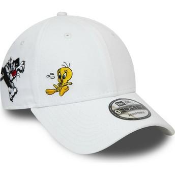Casquette courbée blanche ajustable 9FORTY Sylvestre et Titi Looney Tunes Chase New Era