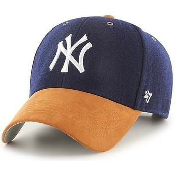 47 Brand Curved Brim MVP Willowbrook New York Yankees MLB Navy Blue Adjustable Cap with Brown Visor