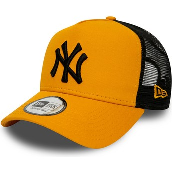 Casquette trucker orange avec logo noir League Essential A Frame New York Yankees MLB New Era