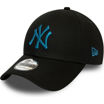 New Era Curved Brim Blue Logo 9FORTY League Essential New York Yankees MLB Black Adjustable Cap