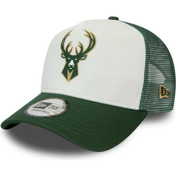 Casquette trucker blanche et verte Team Colour Block A Frame Milwaukee Bucks NBA New Era