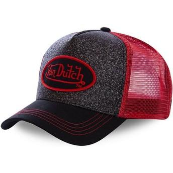 Von Dutch FLAK RED Black and Red Trucker Hat