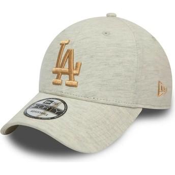 Casquette courbée beige avec logo doré 9FORTY Pull Essential Los Angeles Dodgers MLB New Era