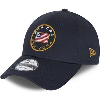 Casquette courbée bleue marine ajustable 9FORTY USA Flag New Era