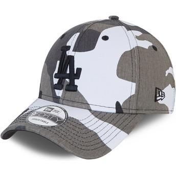 Casquette courbée camouflage noire ajustable avec logo noir 9FORTY Los Angeles Dodgers MLB New Era