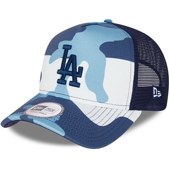 Casquette trucker camouflage bleue avec logo bleu A Frame Los Angeles Dodgers MLB New Era