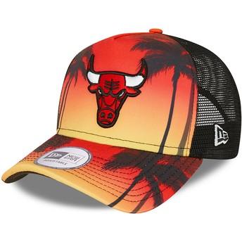 Casquette trucker rouge A Frame Summer City Chicago Bulls NBA New Era