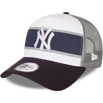 New Era A Frame Retro New York Yankees MLB White and Navy Blue Trucker Hat
