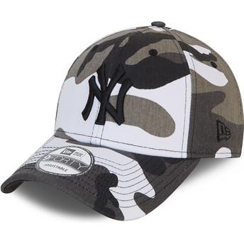 Casquette courbée camouflage noire ajustable avec logo noir 9FORTY New York Yankees MLB New Era