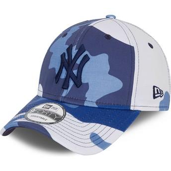 Casquette courbée camouflage bleue ajustable avec logo noir 9FORTY New York Yankees MLB New Era