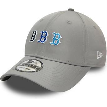 New Era Curved Brim 9FORTY Stack Logo Boston Red Sox MLB Grey Adjustable Cap