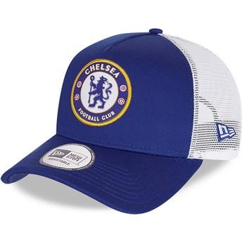 New Era Cotton A Frame Chelsea Football Club Blue Trucker Hat