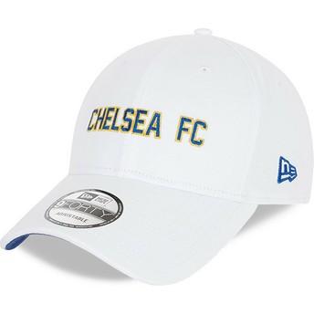 New Era Curved Brim 9FORTY Cotton Wordmark Chelsea Football Club White Adjustable Cap