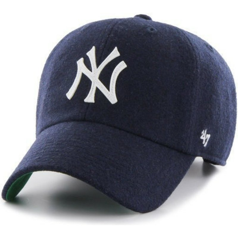 casquette-courbee-bleue-marine-avec-du-ruban-de-cuir-new-york-yankees-mlb-clean-up-47-brand