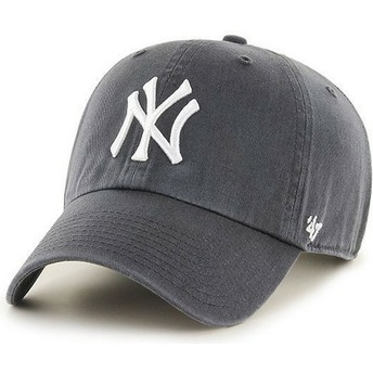 47 Brand Curved Brim New York Yankees MLB Clean Up Cap Dunkelgrau