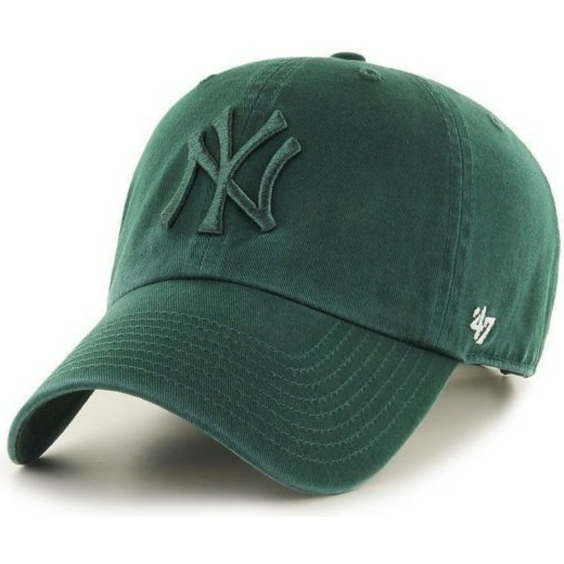 casquette-courbee-verte-avec-logo-vert-new-york-yankees-mlb-clean-up-47-brand