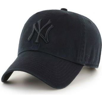47 Brand Curved Brim Mit Schwarzem Logo New York Yankees MLB Clean Up Cap Dunkelschwarz