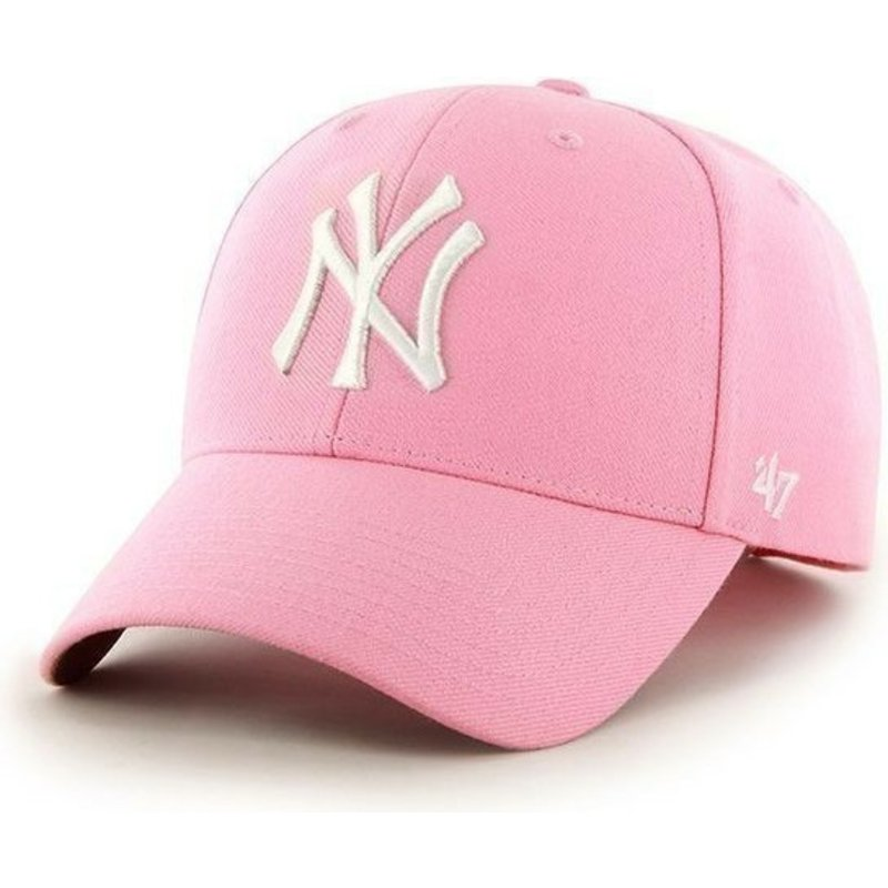 casquette-a-visiere-courbee-rose-unie-mlb-newyork-yankees-47-brand