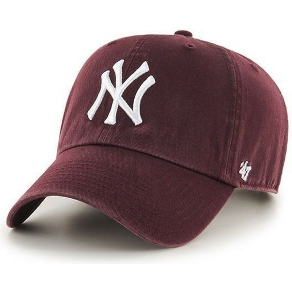 casquette-courbee-grenat-new-york-yankees-mlb-clean-up-47-brand