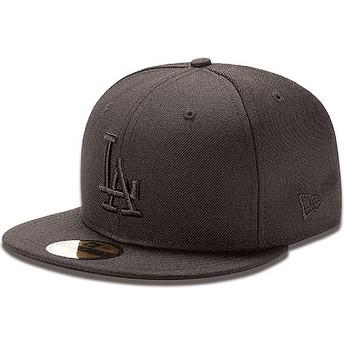 New Era Flat Brim 59FIFTY schwarz on schwarz Los Angeles Dodgers MLB Fitted Cap schwarz