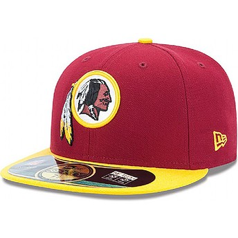 New Era Flat Brim 59FIFTY Authentic On-Field Game Washington rotskins NFL Fitted Cap rot