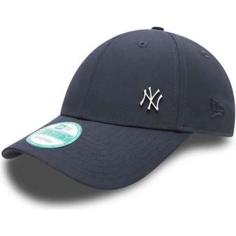 Cappellino visiera curva blu marino regolabile 9FORTY Flawless Logo di New York Yankees MLB di New Era