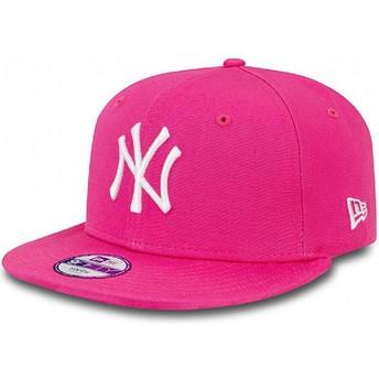 New Era Kinder Flat Brim 9FIFTY Essential New York Yankees MLB Snapback Cap pink