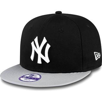 Cappellino visiera piatta nero snapback per bambino 9FIFTY Cotton Block di New York Yankees MLB di New Era